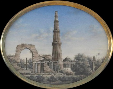 Watercolours, painted on ivory plaques with the views of Qutb, Delhii by unknown artist ca.1850